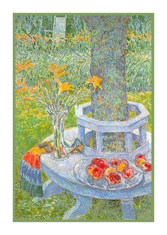 Garden Seat At East Hampton by  American Impressionist Painter Childe Hassam Counted Cross Stitch Pattern