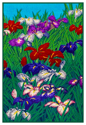 Japanese Hokusai Asian Blooming Iris Flowers Counted Cross Stitch Chart Pattern