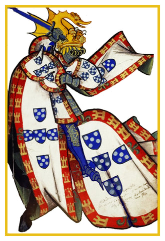 Heraldic Knight on Horseback #1 from a Medieval Tapestry Counted Cross Stitch Pattern