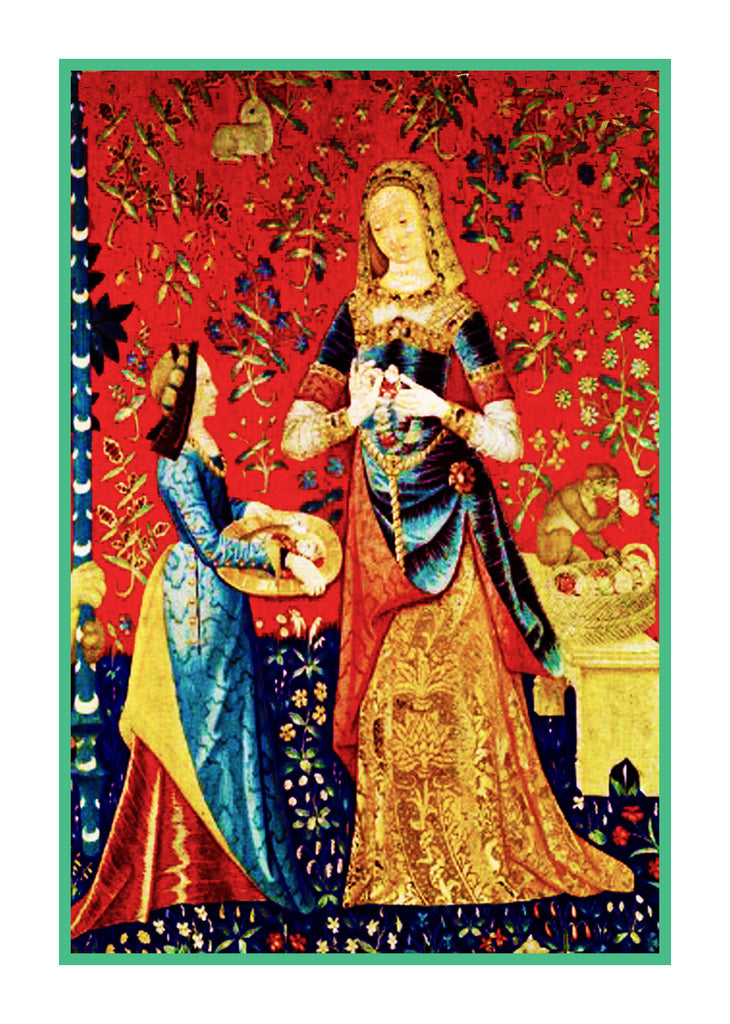 Detail from The Smell Panel from the Lady and The Unicorn Tapestries Counted Cross Stitch or Counted Needlepoint Pattern