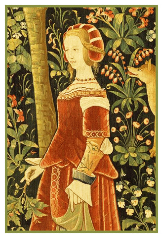 Maiden in Red from a Medieval Tapestry Counted Cross Stitch Pattern