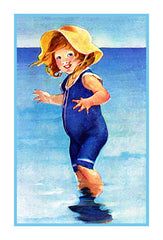 Beach Baby in Blue By Jessie Willcox Smith Counted Cross Stitch or Counted Needlepoint Pattern - Orenco Originals LLC