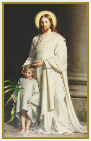 Carl Bloch's Jesus Christ and Child Counted Cross Stitch Chart Pattern
