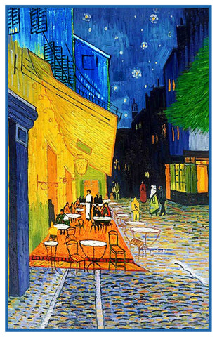 Cafe Terrace at Night inspired by Impressionist Vincent Van Gogh's Painting Counted Cross Stitch Pattern