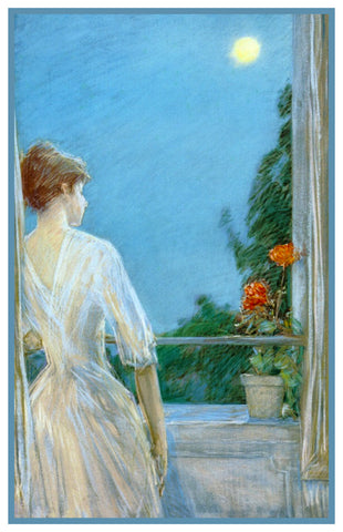 Woman on Balcony Looking at Moon by American Impressionist Painter Childe Hassam Counted Cross Stitch Pattern