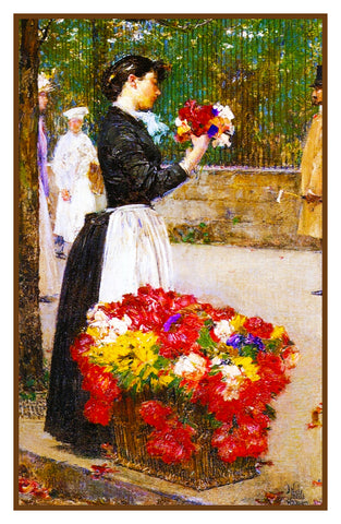 The Flower Seller detail by American Impressionist Painter Childe Hassam Counted Cross Stitch Pattern