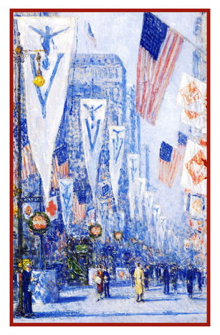 Flags on Victory Day World War 1 by American Impressionist Painter Childe Hassam Counted Cross Stitch or Counted Needlepoint Pattern