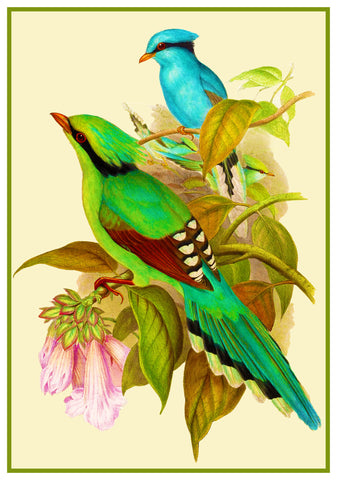Green Magpie by Naturalist John Gould Illustrati?on Birds Counted Cross Stitch Pattern