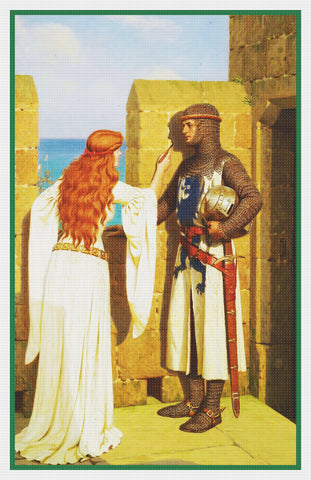 Medieval The Shadow Detail inspired by Edmund Blair Leighton Counted Cross Stitch Pattern