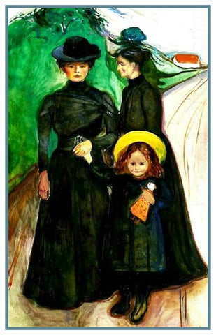Portrait of a Family in Mourning by Symbolist Artist Edvard Munch Counted Cross Stitch or Counted Needlepoint Pattern