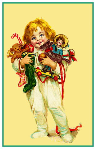 Child Playing with Holiday Toys Frances Brundage Christmas Counted Cross Stitch or Counted Needlepoint Pattern
