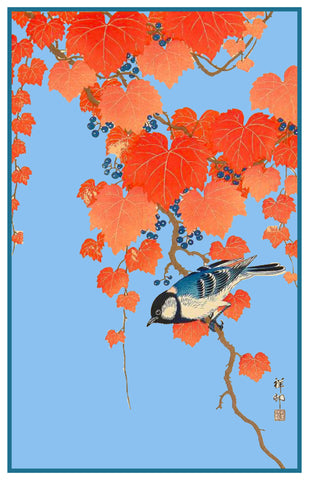Japanese Artist Ohara Shoson's Bunting Bird on Ivy Counted Cross Stitch Pattern