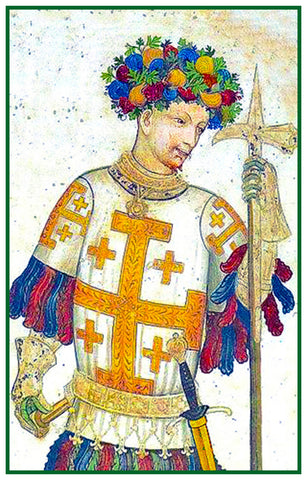 King of Jerusalem from a  Medieval Tapestry Counted Cross Stitch Pattern