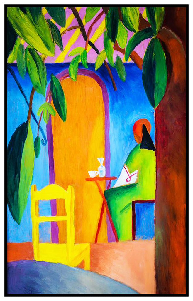 The Turkish Cafe 3 by Expressionist Artist August Macke Counted Cross Stitch or Counted Needlepoint Pattern