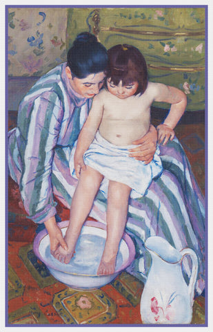 A Childs Bath by American impressionist artist Mary Cassatt Counted Cross Stitch Pattern
