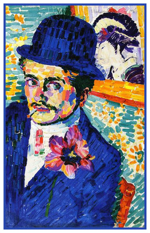Man with a Tulip Geometric Cubism by Artist Robert Delaunay Counted Cross Stitch Pattern
