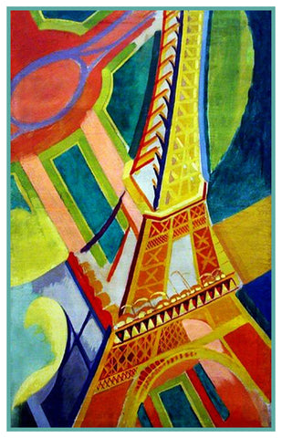 The Eiffel Tower Geometric Cubism by Artist Robert Delaunay Counted Cross Stitch Pattern