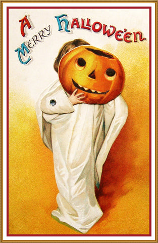 Halloween Ghost Child with Pumpkin Head Counted Cross Stitch or Counted Needlepoint Pattern