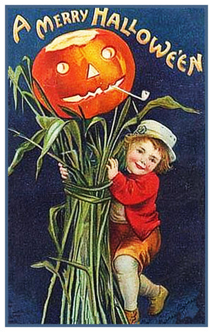 Halloween Boy and Corn Stalks Pumpkin Counted Cross Stitch or Counted Needlepoint Pattern