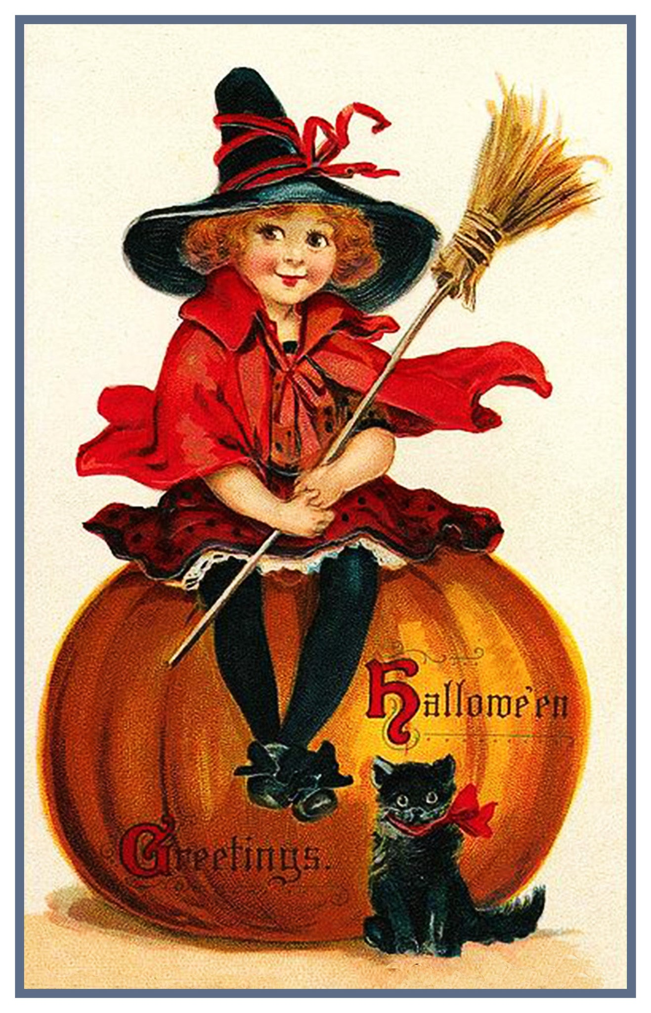 Vintage Halloween Greetings Witch Counted Cross-Stitch Pattern Chart