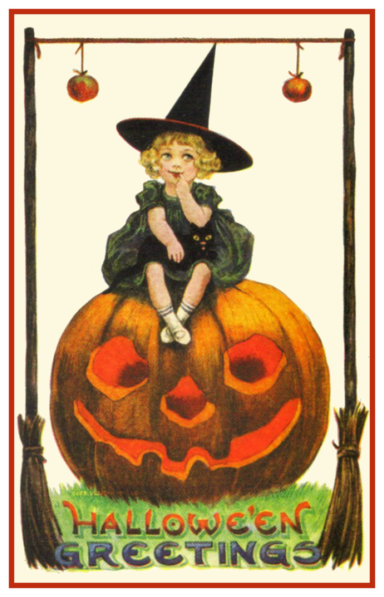 452f2e6db87 Halloween Witch Sitting on a Carved Pumpkin Counted Cross Stitch or ...