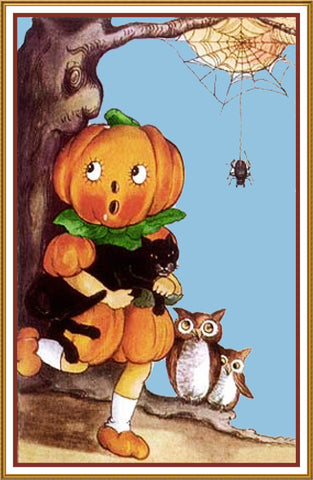 Halloween Pumpkin Person Owls Black Cat Counted Cross Stitch or Counted Needlepoint Pattern