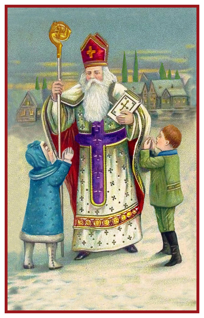 Victorian Religious Father Christmas Santa with Small Children Counted Cross Stitch Pattern