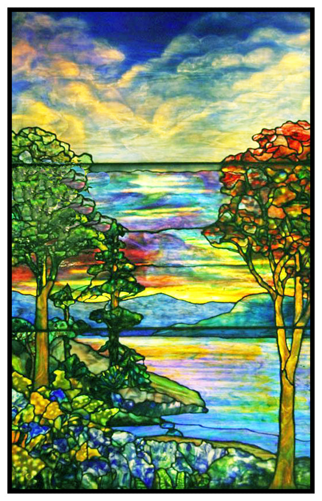 Autumn Landscape inspired by Louis Comfort Tiffany  Counted Cross Stitch or Counted Needlepoint Pattern