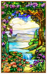 Landscape with Waterfall inspired by Louis Comfort Tiffany Counted Cross Stitch Pattern DIGITAL DOWNLOAD
