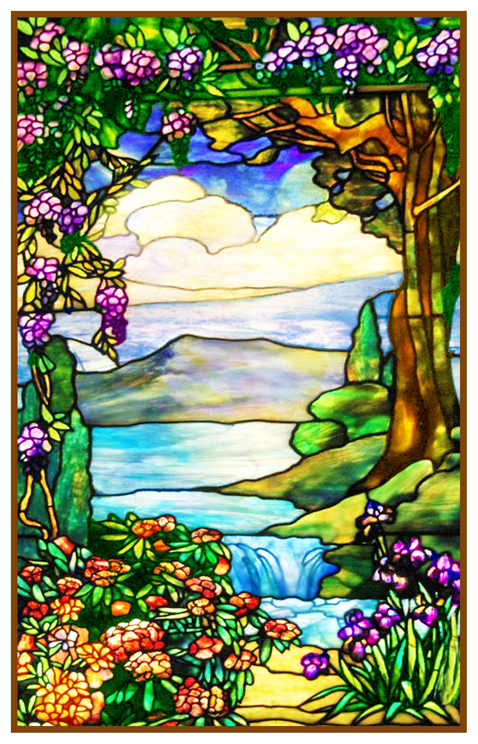 Louis Comfort Tiffany.Landscape With Waterfall Inspired By Louis Comfort Tiffany Counted Cross Stitch Pattern