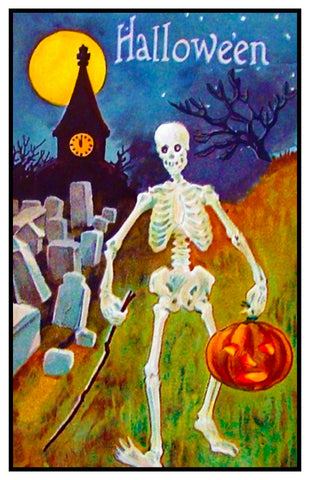 Victorian Halloween Skeleton Pumpkin and Moon Counted Cross Stitch Pattern Digital Download