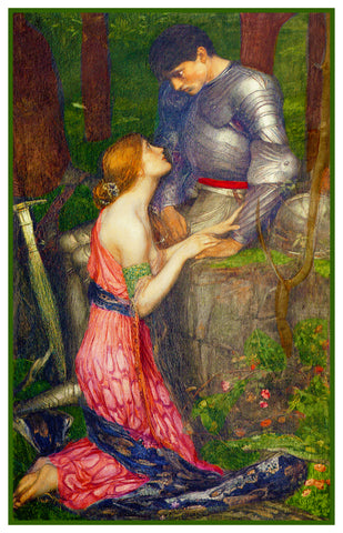 Lamia and Her Knight inspired by John William Waterhouse Counted Cross Stitch or Counted Needlepoint Pattern