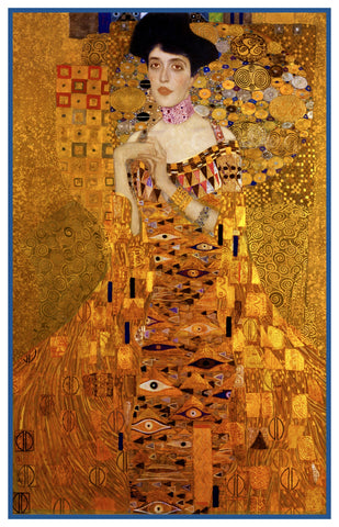 Symbolist Klimt Portrait  of Golden Adele #2 detail Counted Cross Stitch Pattern