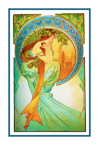 The Arts Poetry by Alphonse Mucha Counted Cross Stitch Pattern