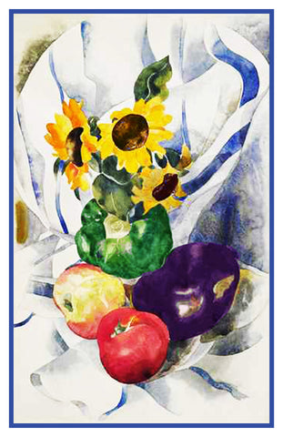 Fruit and Sunflowers Still Life by American Artist Charles Demuth Counted Cross Stitch Pattern
