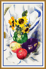 Fruit and Sunflowers Still Life by American Artist Charles Demuth Counted Cross Stitch or Counted Needlepoint Pattern