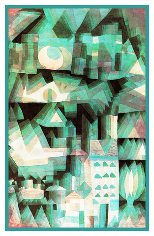 Dream City in Greens by Expressionist Artist Paul Klee Counted Cross Stitch Pattern
