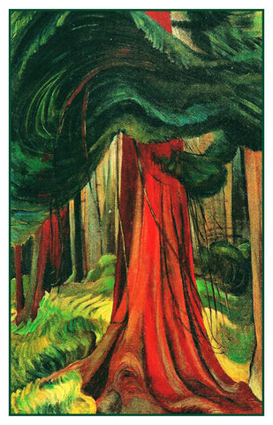 Emily Carr The Red Cedar Tree Canada Landscape Counted Cross Stitch Pattern DIGITAL DOWNLOAD