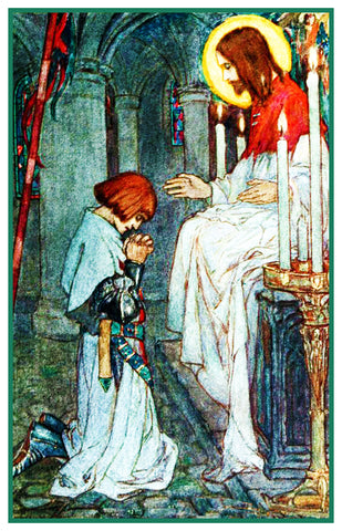 PreRaphaelite Florence Harrison Look Listen Galahad Counted Cross Stitch Pattern