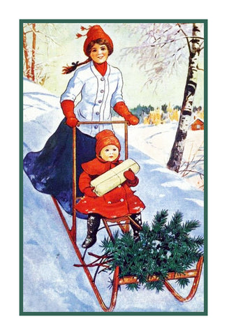 Mother and Daughter Deliver Presents on a Sled Jenny Nystrom  Holiday Christmas Counted Cross Stitch Pattern