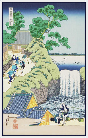 Asian Japanese Waterfall at Aoigaoka Edo by Hokusai Counted Cross Stitch Pattern
