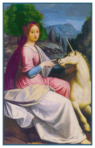 Young Lady with an Unicorn By Renaissance Painter Luca Longhi Counted Cross Stitch Pattern