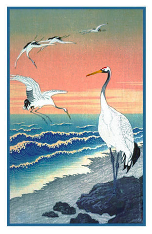Japanese Artist Ohara Shoson's  Cranes Seaside at Sunset Counted Cross Stitch Pattern