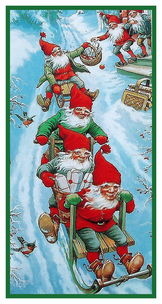 Elves Gnomes Sledding Jenny Nystrom Holiday Christmas Counted Cross Stitch or Counted Needlepoint Pattern