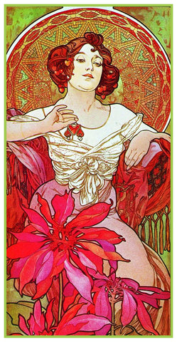 Jewels Ruby by Alphonse Mucha Counted Cross Stitch Pattern