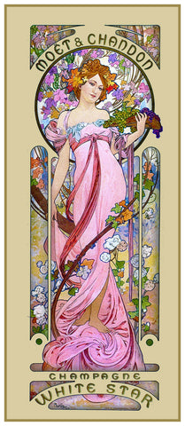 Moet Chandon Pink Gown by Alphonse Mucha Counted Cross Stitch Pattern