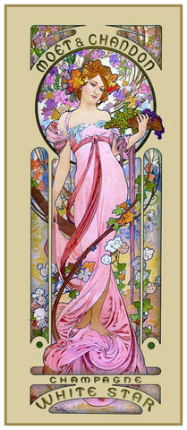 Moet Chandon Pink Gown by Alphonse Mucha Counted Cross Stitch Pattern DIGITAL DOWNLOAD