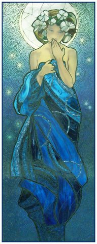 Night Sky by Alphonse Mucha Counted Cross Stitch Pattern DIGITAL DOWNLOAD