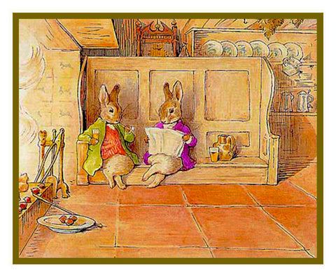 Bunny Rabbit Family Relax by the Fire inspired by Beatrix Potter Counted Cross Stitch or Counted Needlepoint Pattern