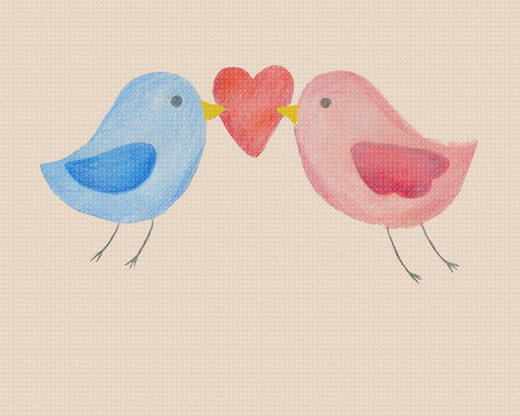Contemporary Cute Love Birds with Hearts Sew So Simple ™ Counted Cross Stitch or Counted Needlepoint Pattern - Orenco Originals LLC